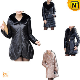 CWMALLS - Leather Down Fur Coat CW148270 - cwmalls.com