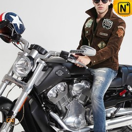 cwmalls - Leather Flight Jacket for Men CW850288