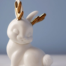 Gama-Go - You Don't Know Jackalope Cotton Ball Container by Gama-Go - White, Gold, Fairytale, Quirky, Better