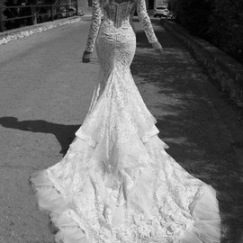 inbal dror - lace gown tiered train long sleeve lace jacket