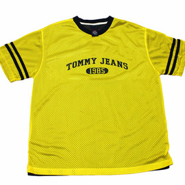 TOMMY HILFIGER - Vintage 90s Tommy Jeans Yellow/Navy Jersey Shirt Mens Size Large