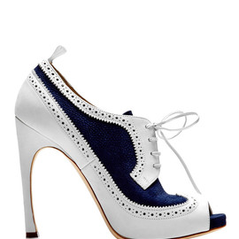 THOM BROWNE - Peep Toe Wingtip Brogue In Navy And White Nubuck Leather