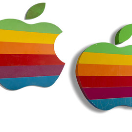 Apple Computer - Original rainbow logo signs
