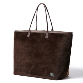 "HEAD PORTER - ""DUPLEX"" TOTE BAG (L) BROWN"
