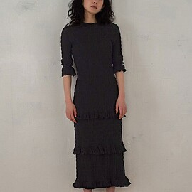 MEER. - Shirring frilled dress /BLK