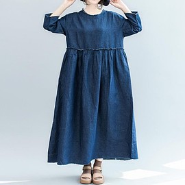 Women long dress - maxi dress Cotton dress, round collar dress, Denim Full Length Length Length long maxi dress