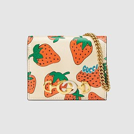 GUCCI - Gucci Zumi Strawberry print card case