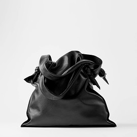 ZARA - LEATHER TOTE BAG WITH KNOTTED DETAIL