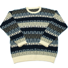 VINTAGE - Vintage 90s Cream/Black/Teal Striped Sweater Mens Size XXL