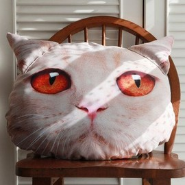digimana - 100 Original Cat Head Style Pillow   Cream British