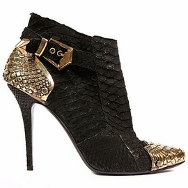 BALMAIN - black and gold booties