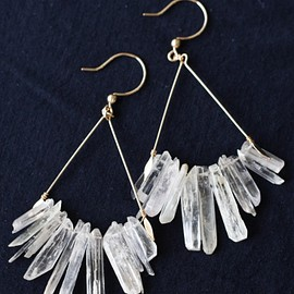 moemi sugimura - Kunzite chandelier earrings