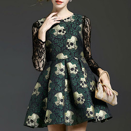 Skull Printing A-line Sleeveless Dress