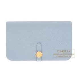 HERMES - Hermes Dogon combined wallet GM Bleu lin/Linen blue Togo leather Gold hardware