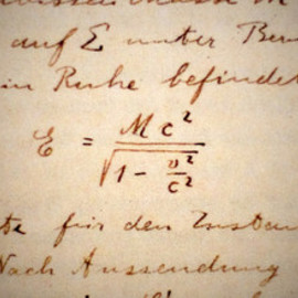 Einstein - The first occurrence of Einstein's E=MC^2 equation, in his own writing.