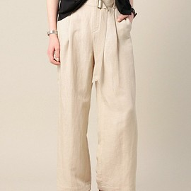BEAUTY&YOUTH UNITED ARROWS - tuck belt wide linen pants