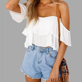 Yoins - White Sexy Off Shoulder Backless Crop Top
