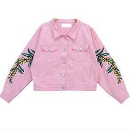 Autumn Streetwear Arm Floral Embroidery Women's Stylish Botton Denim Jackets