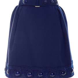 MARC JACOBS - SS2015 Blue Wool Crepe Skirt With Belt
