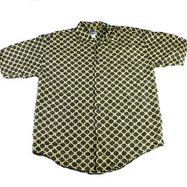 VINTAGE - Vintage 90s Green/Gold Silk Button Up Shirt Mens Size Medium