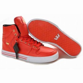 supra vaider red white leather high top men size skate sneaker