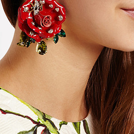 DOLCE&GABBANA - Gold-plated, Swarovski crystal and patent-leather clip earrings