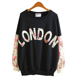 British style LONDON Floral Print Sweatshirt