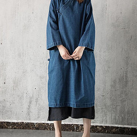 Denim dress - Denim dress in light blue Cowboy Loose dress long sleeved dress large size Dress long gown
