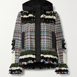 sacai - Fringed canvas-trimmed tweed jacket