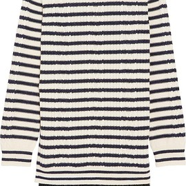 REDValentino - Chantilly lace-trimmed striped cable-knit  wool mini dress