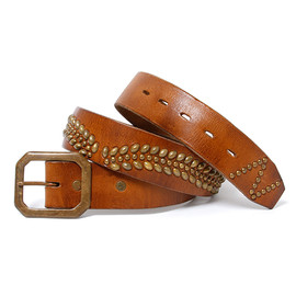 "nonnative, Stevenson Overall Co. - DWELLER LEATHER  BELT  ""LAZY LINE"" - COW LEATHER WITH STUDS by Stevenson Overall Co."
