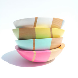 "nicoleporterdesign - Set of FOUR Modern Pastel Hardwood 7"" Bowls"