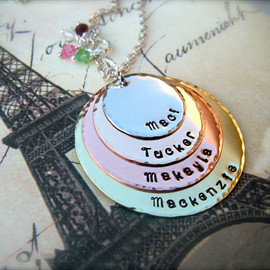 Mother's Day - EXCLUSIVE - Quad-Color Personalized Pendant Necklace - For MOMMY - as Featured in Bead Trend Magazine