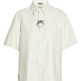 Kenzo - Tiger-embellished coated-herringbone shirt
