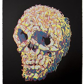 Kozyndan - Bunnyskull Silkscreen limited edition print ( glow in the dark )