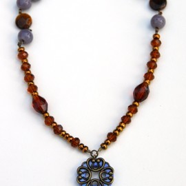 Luulla - Brown and Purple Shell, Ceramic and Glass necklace