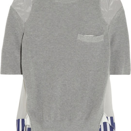 sacai - Knitted cotton, satin and silk-chiffon sweater