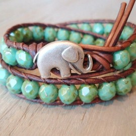 Etsy - *Rustic Baby Elephant* Bracelet - distressed brown leather, good luck charm, lucky elephant!! ;)