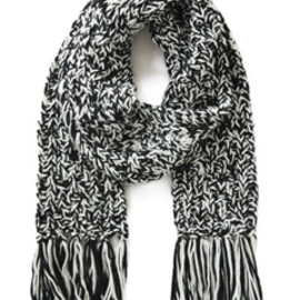 karen walker - Cable Knit Scarf (black & cream)