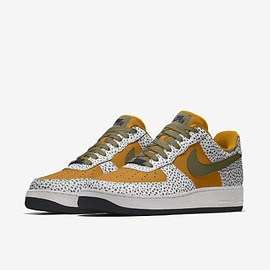 NIKE, Nike By You - Air Force 1 Low Unlocked - Gold Suede/Medium Olive/Safari/Black
