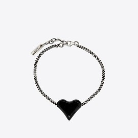 SAINT LAURENT - Bracelet with heart charm in brass and enamel