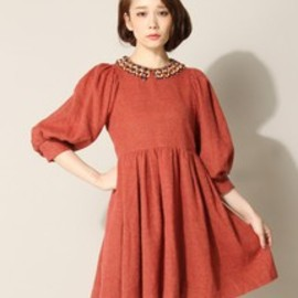 muller of yoshiokubo - muller of yoshiokubo / wood collar dress / レッド