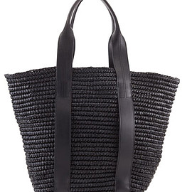 Alexander Wang - Raffia Leather-Trim Tote Bag, Panier Black