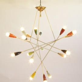 CONVERSO - Possibly Sarfartti for Arteluce, Multi Light Chandelier, Italy 1952c