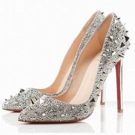 Christian Louboutin Pigalle Spikes 120mm Strass Pumps Silver