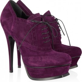 YVES SAINT-LAURENT - Suede brogue ankle boots