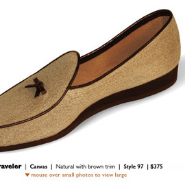 Belgian Shoes - Traveller Canvas Natural with Brown Trim