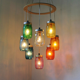 BootsNGus - RAINBOW Heart Shaped Mason Jar Chandelier Light