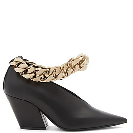 BURBERRY - Brierfield chain-strap pointed leather pumps(FW2020)