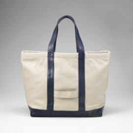 Cinquanta - Leather Tote Bag Ivory×Navy